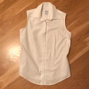 white cotton sleeveless brooks brothers blouse